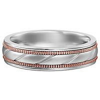 Men's Band in 10K White & Rose Gold, 6MM