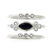 Lab-Created Blue & White Sapphire Stack Ring Set in Sterling Silver