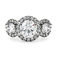 Forever One® 2 1/10 ct. tw. Moissanite Three-Stone Ring in 14K White Gold