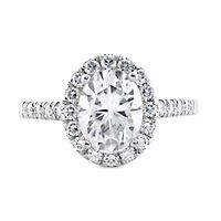 Forever One® 3 ct. tw. Moissanite Oval Engagement Ring in 14K White Gold