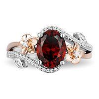Enchanted Disney Mulan Rhodolite Garnet & 1/10 ct. tw. Diamond Ring in Sterling Silver & 10K Rose Gold