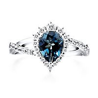 London Blue Topaz & 3/8 ct. tw. Diamond Ring in 10K White Gold