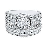 1 7/8 ct. tw. Multi-Diamond Engagement Ring Set in 10K White Gold