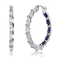 Lab-Created White & Blue Sapphire Hoop Earrings in Sterling Silver