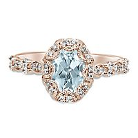 TRULY™ Zac Posen Aquamarine & 1/3 ct. tw. Diamond Engagement Ring in 14K Rose Gold
