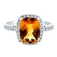 Citrine & 1/7 ct. tw. Diamond Ring in 10K White Gold
