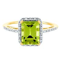 Peridot & 1/10 ct. tw. Diamond Ring in 14K Yellow Gold
