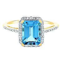 Blue Topaz & 1/10 ct. tw. Diamond Ring in 14K Yellow Gold