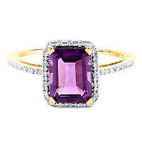 Amethyst & 1/10 ct. tw. Diamond Ring in 14K Yellow Gold