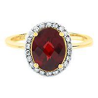 Garnet & 1/8 ct. tw. Diamond Ring in 14K Yellow Gold
