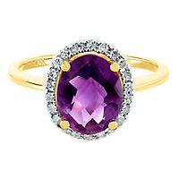 Amethyst & 1/8 ct. tw. Diamond Ring in 14K Yellow Gold