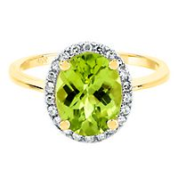 Peridot & 1/8 ct. tw. Diamond Ring in 14K Yellow Gold