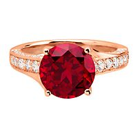 Passion™ Lab Grown Ruby & 7/8 ct. tw. Lab Grown Diamond Ring in 14K Rose Gold