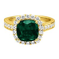 Passion™ Lab Grown Emerald & 1 ct. tw. Lab Grown Diamond Ring in 14K Yellow Gold