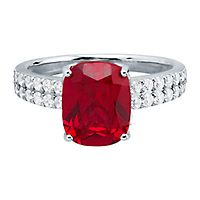 Passion™ Lab Grown Ruby & 1/2 ct. tw. Lab Grown Diamond Ring in 14K White Gold