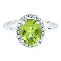 Peridot & 1/8 ct. tw. Diamond Ring in 14K White Gold