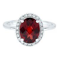 Garnet & 1/8 ct. tw. Diamond Ring in 14K White Gold