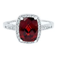 Garnet & 1/7 ct. tw. Diamond Ring in 10K White Gold