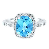 Blue Topaz & 1/7 ct. tw. Diamond Ring in 10K White Gold