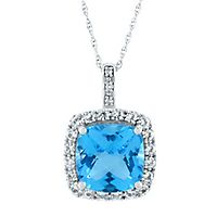 Blue Topaz, Lab-Created White Sapphire & Diamond Pendant in 10K White Gold