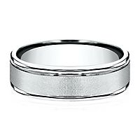 Men's Wirebrush Band in 10K White Gold, 6MM