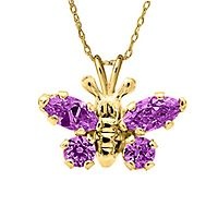 Children's Purple Simulated Diamond Butterfly Pendant in 14K Yellow Gold