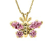 Children's Pink Simulated Diamond Butterfly Pendant in 14K Yellow Gold