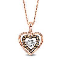 1/5 ct. tw. White & Champagne Diamond Heart Pendant in 10K Rose Gold