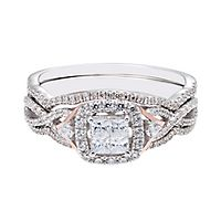 3/4 ct. tw. Diamond Engagement Ring Set in 14K White & Rose Gold