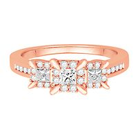 1/2 ct. tw. Diamond Three-Stone Engagement Ring in 10K Rose Gold