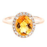 Citrine & 1/8 ct. tw. Diamond Ring in 14K Rose Gold