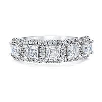 Royal Asscher® 1 1/2 ct. tw. Diamond Five-Stone Band in 14K White Gold