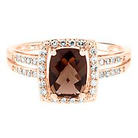 Smokey Topaz & 1/5 ct. tw. Diamond Ring in 14K Rose Gold