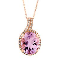 Amethyst & Lab-Created White Sapphire Pendant in 10K Rose Gold