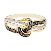 1/4 ct. tw. Champagne & White Diamond Ring in 10K Yellow Gold