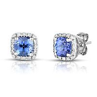 Tanzanite & 1/10 ct. tw. Diamond Earrings in 14K White Gold