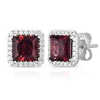 Rhodolite Garnet & 1/7 ct. tw. Diamond Stud Earrings in 14K White Gold