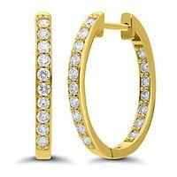 3/4 ct. tw. Diamond Oval Hoop Earrings in 14K Yellow Gold