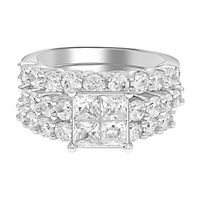 3 1/2 ct. tw. Multi-Diamond Engagement Ring Set in 14K White Gold