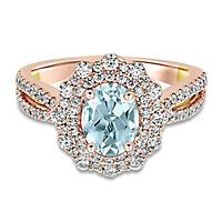 TRULY™ Zac Posen Aquamarine & 7/8 ct. tw. Diamond Engagement Ring in 14K Rose Gold