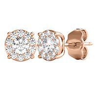 Radiant Star® 1/2 ct. tw. Diamond Stud Earrings in 14K Rose Gold