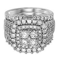 3 ct. tw. Multi-Diamond Engagement Ring Set in 14K White Gold