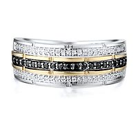 Men's 3/8 ct. tw. Black & White Diamond Ring in Sterling Silver & 10K Yellow Gold