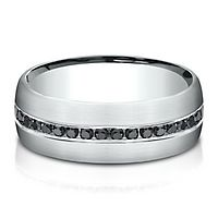 Men's 3/8 ct. tw. Black Diamond Ring in 14K White Gold