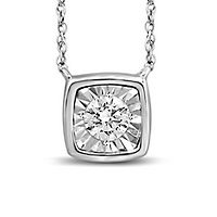 1/4 ct. tw. Diamond Illusion Square Shaped Pendant in 10K White Gold