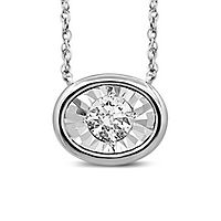 1/4 ct. tw. Diamond Illusion Oval Shaped Pendant in 10K White Gold
