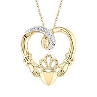 Diamond Claddagh Heart Pendant in 10K Yellow Gold