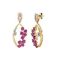 Ruby & Diamond Earrings in 14K Yellow Gold