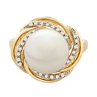 Freshwater Cultured Pearl & 1/10 ct. tw. Diamond Knot Ring in 14K Yellow Gold