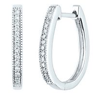 1/10 ct. tw. Diamond Hoop Earrings in 14K White Gold